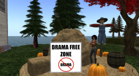 Drama Free Zone Sign Within a Virtual World