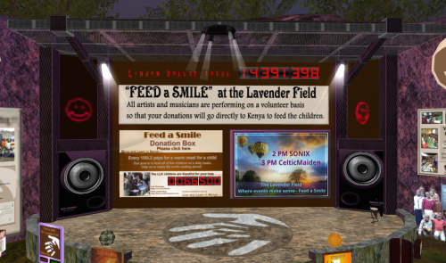 Feed A Smile stage at Lavender Field in Second Life