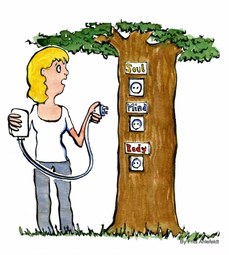 Woman looking to plug into a tree with one of three plugs: Soul, Mind, Body
